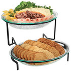 Cal-Mil GL2400-13 Black Glacier Two Tier Fresco Oval Bowl Display with Acrylic Chiller Sets - 20 inch x 20 inch x 14 inch