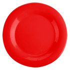 10 1/2 inch Pure Red Wide Rim Melamine Plate - 12/Pack