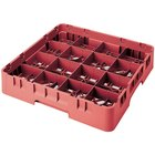 Cambro 16S1214-RD Camrack 12 5/8 inch High Customizable Red 16 Compartment Glass Rack