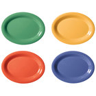 GET OP-135-MIX Diamond Mardi Gras 13 1/2 inch x 10 1/4 inch Oval Melamine Platter, Assorted Colors - 12/Case