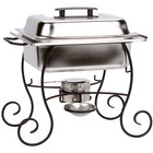 Choice 4 Qt. Half Size Chafer Set with Black Wrought Iron Stand and Black Plastic Lid Handle