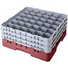 Cambro 36S1058163 Red Camrack Customizable 36 Compartment 11 inch Glass Rack