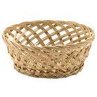 Tablecraft 1635 Natural Open Weave Round Willow Basket 9 inch x 3 1/2 inch