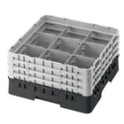"Cambro 9S1114110 Black Camrack Customizable 9 Compartment 11 3/4"" Glass Rack"