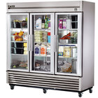 True TS-72G-LD 78 inch Stainless Steel Three Section Glass Door Reach In Refrigerator with LED Lighting - 72 Cu. Ft.
