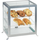 Cal-Mil 1574-74 Soho Three Tier Silver Display Case with Rear Door - 17 1/4 inch x 12 3/4 inch x 20 3/4 inch