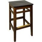 BFM Seating LWB680WABLW Trevor Walnut Wood Barstool with Black Wood Seat