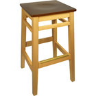 BFM Seating LWB680NTMHW Trevor Natural Wood Barstool with Mahogany Wood Seat