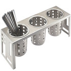 """Cal-Mil 1608-55 Squared Stainless Steel Three Cylinder Display - 16"""" x 5 1/4"""" x 6"""""""