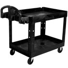 Rubbermaid 1867535 Black 2 Shelf Utility Cart - 36 inch x 24 inch x 32 1/4 inch