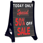 Aarco RAF-4 Roll A-Frame Two Sided Black Letterboard with Stand and Deluxe Character Set - 24 inch x 36 inch