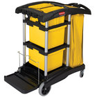 Rubbermaid FG9T7300BLA HYGEN Microfiber High Capacity Janitor Cart with Bins