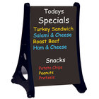 Aarco RAF-5 Roll A-Frame Two Sided Black Write-On / Wash-Off Sidewalk Sign with Stand - 24