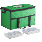 Choice Green Medium Insulated Nylon Cooler Bag with Brick Cold Packs (Holds 72 Cans)