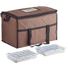 Choice Brown Medium Insulated Nylon Cooler Bag with Brick Cold Packs (Holds 72 Cans)