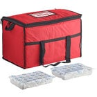 Choice Red Medium Insulated Nylon Cooler Bag with Brick Cold Packs (Holds 72 Cans)