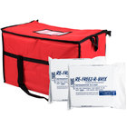 Choice Soft Sided 22 inch x 13 inch x 14 inch Red Insulated Nylon Cooler Bag with Foam Freeze Pack Kit