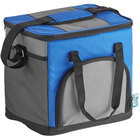 Choice Blue Small Insulated Nylon Cooler Bag with Brick Cold Pack (Holds 24 Cans)