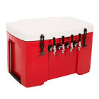 Grizzly Cooler 4 Faucet Red Jockey Box with (4) 120' Coils - 30