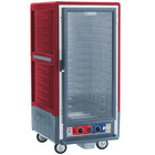 Metro C537-CLFC-4 C5 3 Series Insulated Low Wattage 3/4 Size Heated Holding and Proofing Cabinet with Fixed Wire Slides and Clear Door - Red