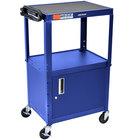 Luxor AVJ42C-RB Blue Steel Adjustable AV Cart with Cabinet