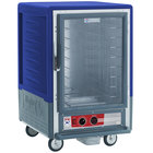 Metro C535-HLFC-4-BU C5 3 Series Insulated Low Wattage Half Size Heated Holding Cabinet with Fixed Wire Slides and Clear Door - Blue