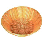 9 inch Round Plastic Natural Bread Basket - 12 / Case