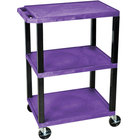 Luxor WT34PS Purple 34 inch Three Shelf AV Utility Cart