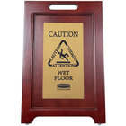 Rubbermaid 1867507 23 1/2 inch 2-Sided Wooden Brass Plated Executive Wet Floor Sign