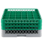 Noble Products 36-Compartment Gray Full-Size Glass Rack with 3 Green Extenders - 19 3/8