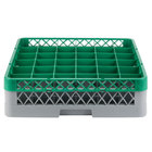 Noble Products 36-Compartment Gray Full-Size Glass Rack with Green Extender - 19 3/8 inch x 19 3/8 inch x 5 3/4 inch