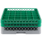 Noble Products 36-Compartment Gray Full-Size Glass Rack with 2 Green Extenders - 19 3/8 inch x 19 3/8 inch x 7 1/4 inch