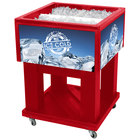 IRP Red Mini Texas Icer 5015 Insulated Ice Bin / Merchandiser 32 Qt. with Dividers and Drain 23 1/4 inch x 23 1/4 inch