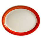 CAC R-51-R Rainbow 15 1/2 inch x 10 inch Red Rolled Edge Platter - 12/Case