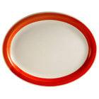CAC R-12NR-R Rainbow 9 1/2 inch x 7 1/4 inch Red Narrow Rim Platter - 24/Case