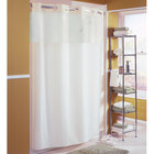 Hookless HBH40MYS0574 Beige Mystery Shower Curtain with Matching Flat Flex-On Rings, Weighted Corner Magnets, and Poly-Voile Translucent Window - 71