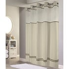 Hookless HBH40ES221 Sand with Brown Stripe Escape Shower Curtain with Chrome Raised Flex-On Rings, It's A Snap! Polyester Liner with Magnets, and Poly-Voile Translucent Window - 71