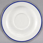 Homer Laughlin 6556031 Pristine with Kerry Cobalt Blue Rim 5 3/4 inch Round China Saucer - 36/Case