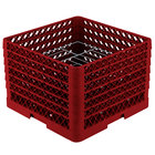 Vollrath PM1412-6 Traex® Plate Crate Red 14 Compartment Plate Rack - Holds 10 3/4 inch to 12 5/16 inch Plates