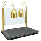 Hatco DCSB400-3624-2 Dual Lamp Decorative Carving Station with Night Sky-Colored Heated Base and Bright Brass Finish - 120V, 1300W