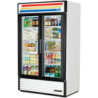 True GDM-43-HC-LD White Two Swing Glass Door Refrigerated Merchandiser with LED Lighting