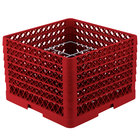Vollrath PM1211-6 Traex® Plate Crate Red 12 Compartment Plate Rack - Holds 10 3/4 inch to 11 3/16 inch Plates