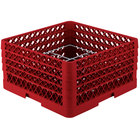 Vollrath PM1211-4 Traex® Plate Crate Red 12 Compartment Plate Rack - Holds 8 3/4 inch to 9 3/16 inch Plates