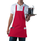 Red Full Length Front of House Bib Apron with 3 Pockets - 25 inchL x 28 inchW