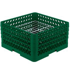 Vollrath PM2209-3 Traex® Plate Crate Green 22 Compartment Plate Rack - Holds 7 inch to 7 7/8 inch Plates