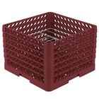 Vollrath PM0912-6 Traex® Plate Crate Burgundy 9 Compartment Plate Rack - Holds 11 1/4 inch to 12 1/2 inch Plates