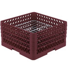 Vollrath PM2209-3 Traex® Plate Crate Burgundy 22 Compartment Plate Rack - Holds 7 inch to 7 7/8 inch Plates