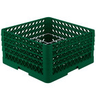 Vollrath PM1211-4 Traex® Plate Crate Green 12 Compartment Plate Rack - Holds 8 3/4 inch to 9 3/16 inch Plates