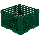 Vollrath PM1510-5 Traex® Plate Crate Green 15 Compartment Plate Rack - Holds 9 inch to 10 3/4 inch Plates