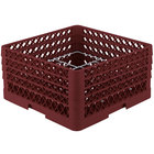 Vollrath PM1211-4 Traex® Plate Crate Burgundy 12 Compartment Plate Rack - Holds 8 3/4 inch to 9 3/16 inch Plates